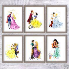 Disney watercolor print Set of 6 Disney princess poster Prince