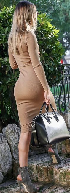 e4500546cfb6 Nude Body-con Midi Dress Holiday Style Inspo by By Kiki Fashion Mode