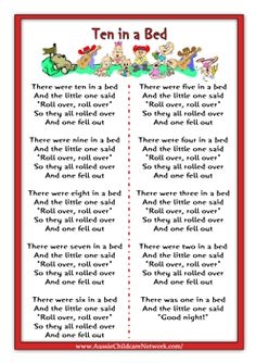 Ten in a Bed Rhymes Worksheets Rhyming Preschool, Rhyming Activities, Numbers Preschool, Learning Numbers, Preschool Learning, Learning Activities, Silly Songs, Fun Songs, Baby Songs Lyrics