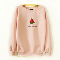 watermelon embroidery hoodies cotton women fleece sweatshirts O-Neck