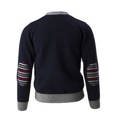 This Ferrari cardigan dedicated to all young Maranello enthusiasts is made of a wool blend fabric. This garment features multicoloured patch effect inserts on the elbows, the internal lining and the Cavallino Rampante logo embroidered on the left breast.<