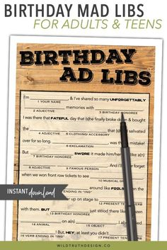 Mens Birthday Mad Libs Party Game Printable by Wild Truth Design Co Beach Party Games, Tween Party Games, Princess Party Games, Backyard Party Games, Dinner Party Games, Sleepover Activities, Backyard Birthday, Birthday Games For Adults, Adult Birthday Party