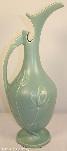 Roseville Pottery Teasel Green Ewer 890-18 from Just Art Pottery