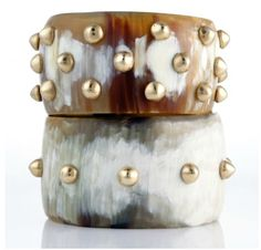 Dark Horn Cuffs with Brass Studs from Ashley Pitman KENYA F/W 09 Collection