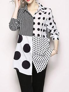 Patchwork Polka Dot Print Long Sleeve Women Shirt look not only special, but also they always show ladies' glamour perfectly and bring surprise. Polka Dot Shirt, Polka Dots, Womens Fashion For Work, Fashion Women, Long Sleeve Tunic, Printed Blouse, Ideias Fashion, Shirt Dress, Clothes For Women