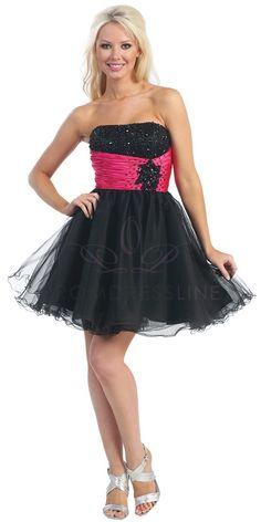 Black Strapless Beaded Bust Embroidered Fuchsia Ruched Waistline Short Tulle Bridesmaid Dress - LT5209-BF LT5209-BF $135.00 on www.GirlsDressLine.Com