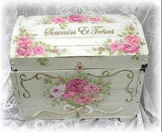 Jill Serrao uploaded this image to 'Gallery'. See the album on Photobucket. Decoupage Box, Decoupage Vintage, Painted Boxes, Wooden Boxes, Shabby Chic Crafts, Pretty Box, Altered Boxes, Vintage Sheets, Card Box Wedding