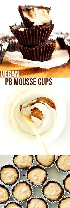 5 ingredient VEGAN Peanut Butter MOUSSE Cups! Crunchy chocolate shell, creamy PB mousse center!