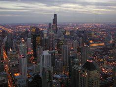 Chicago - widok na panoramę miasta z samolotu Chicago - Illinois - USA #Chicago #Illinois #USA #photography #city #Polacy_w_USA #Polonia #wietrzne #miasto #windy #city