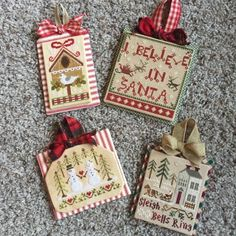 Priscillas: Finishing Stitchy Ornaments (I believe in Jesus! Cross Stitch Christmas Ornaments, Xmas Cross Stitch, Cross Stitch Pillow, Just Cross Stitch, Cross Stitch Finishing, Christmas Embroidery, Christmas Cross, Cross Stitch Charts, Cross Stitching