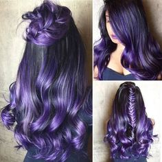 25 Purple Ideas to Try in Purple hair color ideas are in right now, and what better these feminine purple hair? Purple hair colors are an excellent choice to try in 2019 beca…, - Hair Color Hair Color Purple, Hair Color For Black Hair, Cool Hair Color, Hair Colors, Black To Purple Ombre, Blue Hair, Black Hair Ombre, Green Hair, Light Purple