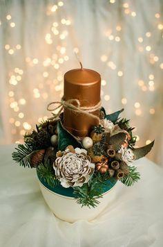 Copper arrangement for Christmas table.