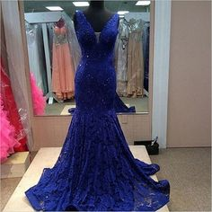 Royal blue prom dress, gorgeous prom dress, off shoulder lace prom dress, V-neck prom dress, elegant prom dress, inexpensive evening gown,BD1607051