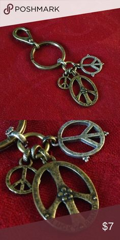 LUCKY BRAND BRONZE PEACE KEYRING Bronze colored Lucky Brand Accessories Key & Card Holders