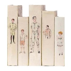 Set Of Five Hand Bound Book Covers Featuring Drawings from 1930s Clothing Patterns