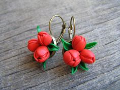 Polymer clay earrings Tulip by JewelryByAK on Etsy, $12.00