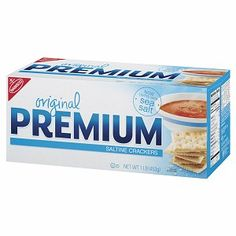 Nabisco Premium Saltine Crackers, Original, 16 oz (044000000578) Sensible Snacking. Now topped with sea salt.  No Cholesterol 2 No Saturated Fat br   contains 1.5g Fat per serving
