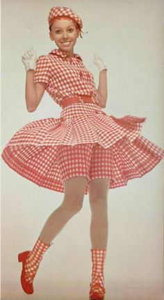 Guy Laroche L'Officiel Magazine 1968 vintage fashion playsuit shorts skirt dress red white gingham late 60s play suit matching socks hat shoes vintage fashion style