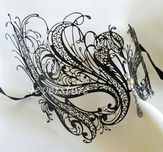 Black Laser Cut Venetian Masquerade Mask with Sparking Rhinestones - Made of Light Metal