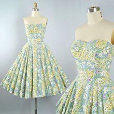 Vintage 50s Dress / 1950s Cotton Sundress Strapless SWEETHEART