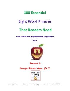 In this file, you will find 100 sight word phrases with games, strategies, and organizational suggestions.  This activity was based on the rese...