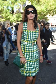 Giovanna Battaglia arrives at the Fendi show during the Milan Fashion Week Spring/Summer 2016 on September 24 2015 in Milan Italy