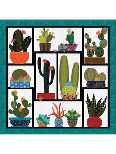 This great quilt features a cactus garden that's even easier to maintain than real cacti, and without the threat of pricking your finger on any of these adorable plants. The oversize blocks stitch up in no time, and the easy-fuse pattern includes ful. Cat Quilt Patterns, Applique Patterns, Applique Quilts, Holiday Quilt Patterns, Wool Applique, Motifs D'appliques, Dragons, Applique Wall Hanging, The Quilt Show