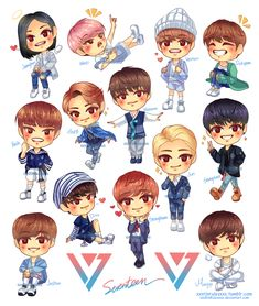 Chibi seventeen fanart ( credit to owner ) cute (kpop fanart Boy Cartoon Characters, Cartoon Fan, Kpop Fanart, Kpop Drawings, Cute Drawings, Seventeen Memes, Mingyu Seventeen, Won Woo, Lisa