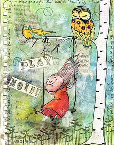 Birgit's Daily Bytes: Print Transfer Technique You need an art Journal  page, mod podge, old book page,or a music sheet page. bone folder or Popsicle stick, you can even use your fingernail. Tear off a piece of paper glue it on, peal it off slowly and the print stays on the page, Mod Podge it..