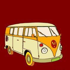 Art Item: Muismat VW busje T1 uit de reeks 'Retro Cars' Deze en andere Art Items kan je terugvinden op www.art-4-u.eu