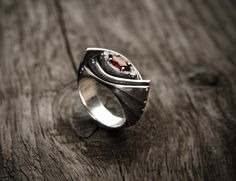 "Buy Now Silver Industrial Steampunk Garnet Ring ""Amarendum"" by GatoJewel 299.00…"