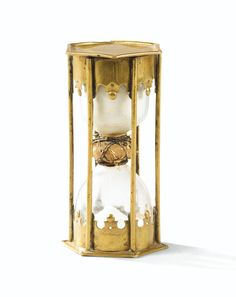Gilt-brass hourglass, early 18th century, French school