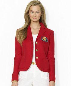 Lauren Ralph Lauren Three-Button Logo-Emblem Linen Blazer - Lauren Coats \u0026amp; Jackets