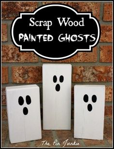 Halloween Scrap Wood Painted Ghosts These fun Halloween ghost decorations are simple to make. Find out how to make these cute wooden ghosts perfect for Halloween decorating inside or outdoors.This DIY craft idea is also a great scrap wood project! Diy Halloween Ghosts, Halloween Wood Crafts, Halloween Wood Signs, Halloween Ghost Decorations, Dollar Store Halloween, Halloween Party Decor, Holidays Halloween, Women Halloween, Costume Halloween
