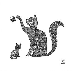 Cat and Kitten tangling together by gormash.deviantart.com on @DeviantArt