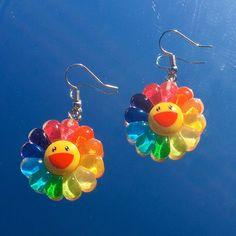 precious takashi murakami rainbow flower earrings handmade w luv super lightweight stainless steel earrings hypoallergenic, great for sensitive ears ! Funky Earrings, Funky Jewelry, Cute Jewelry, Flower Earrings, Earrings Handmade, Jewlery, Earrings For Kids, Drop Earrings, Indie Outfits