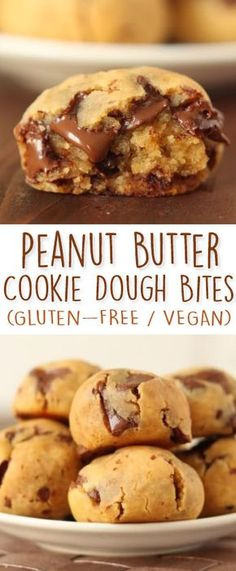 Peanut butter chocolate chip cookie dough bites (aka chickpea cookies). Naturally grain-free, gluten-free and with vegan and dairy-free options.