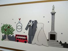 Wedding stationery dedicated to the iconic location of Trafalgar Square in London, WC2. Many a groom, on bended knee has popped the question under the steely gaze of Nelsons Column! http://www.bunnydelicious.com