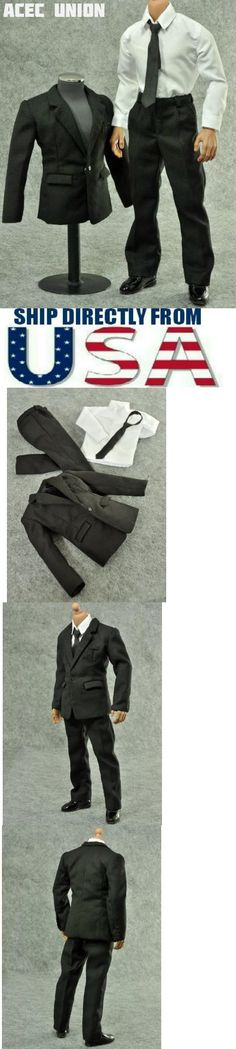 """1//6 Scale Black Leather Business Suit Set For 12/"""" Hot Toys Male Figure ❶USA❶"""