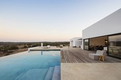 infinity pool in Portugal / Colectiv/Arquitectura Contemporary Architecture, Interior Architecture, Landscape Architecture, Rustic Contemporary, Indoor Outdoor Living, Outdoor Decor, Moderne Pools, Inside A House, Prefab Homes