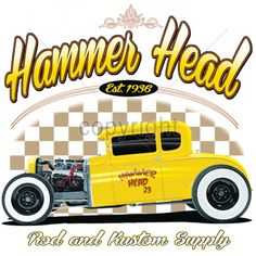 Hammer Head Hot Rod Car Mens Quality T Shirt 17054