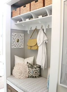 Project: Entryway Closet Makeover - Turning an entryway closet with door into a beautiful mudroom like storage space. Entryway Closet, Closet Doors, Front Closet, Closet Mudroom, Closet Space, Closet Bench, Hallway Storage, Entryway Decor, Bench Storage