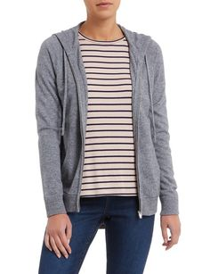 This cosy hooded knit cardigan was made for the weekend. In a classic grey marle tone, the soft style has a handy zip opening with front pockets, and a drawcord at the hood. Wear it alone or layered under a warm coat. Womens Clearance, Plunge Bra, Warm Coat, Knit Cardigan, Cosy, Hoods, Pockets, Zip, Classic
