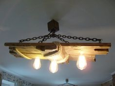Aged wood ceiling lamp by WoodsLamp on Etsy