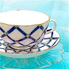 Cobalt Blue Tea Cup and Saucer, Antique, Blue White Teacup Set, St. Petersburg Russia, Vintage China