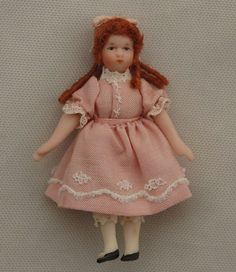 Vtg Dollhouse Miniature Darling Porcelain Girl Doll Toy Size Artisan Handmade #Artisan