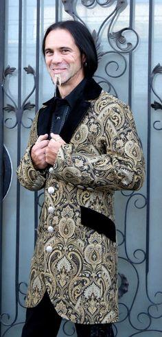 A stylish victorian era dinner jacket in rich salzburg brocade fabric. Steampunk Outfits, Gothic Outfits, Steampunk Fashion, Victorian Fabric, Victorian Era, Gothic Clothing, Steampunk Clothing, Fringe Fashion, Men's Fashion