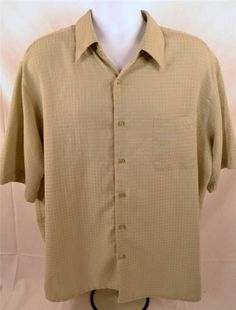 George Sueded Men's Size XL Short Sleeve 100% Polyester Green Casual Wear Shirt