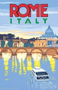 Beautiful City Poster Art Examples 'Rome - Italy' by Charles Avalon - Vintage travel posters - Art Deco - Pullman 'Rome - Italy' by Charles Avalon - Vintage travel posters - Art Deco - Pullman Editions City Poster, Poster Art, Kunst Poster, Art Deco Posters, Poster Series, Old Posters, Illustrations And Posters, Beach Posters, Event Posters