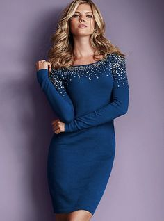 Sexy hair, great color, fun sparkles, and a sweater dress. Does it get any better?!